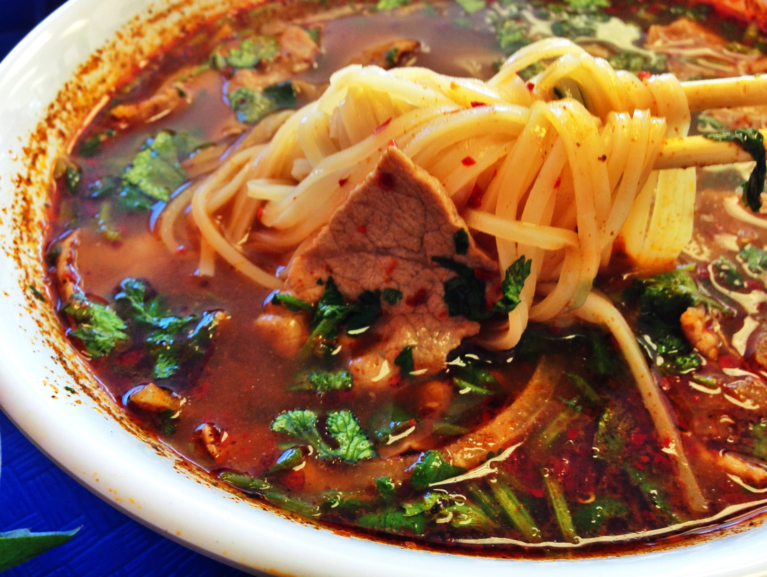 Vietnamese rice noodle soup with eye round beef